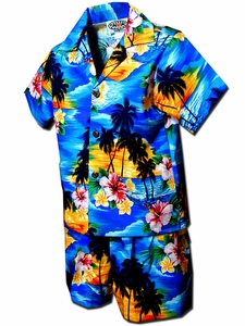 Diamond Head Sunset Blue Boy's Hawaiian Shirt and Shorts