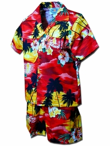 Diamond Head Sunset Red Boy's Hawaiian Shirt and Shorts