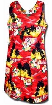 Diamond Head Sunset Red Short Tank Dress