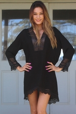 Embroidered Black Tunic Dress