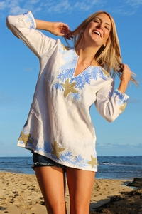 Embroidered Starfish White Linen Top