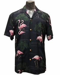 Fancy Flamingos Black Hawaiian Shirt