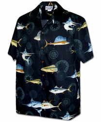 Fish Force Black Hawaiian Shirt