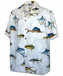 Fish Force White Hawaiian Shirt