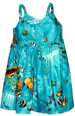 Fishy Fest Turqoise Girl's Bungee Dress
