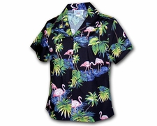 Flamingo Island Black Hawaiian Blouse