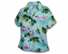 Flamingo Island Cream Hawaiian Blouse