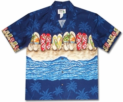 Flip Flop Fetish Blue Hawaiian Shirt