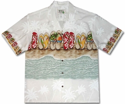 Flip Flop Fetish White Hawaiian Shirt