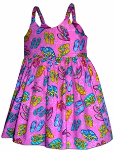 Flip Flop Fun Purple Girl's Bungee Dress