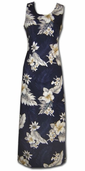Floral Garden Navy Long Tank Dress