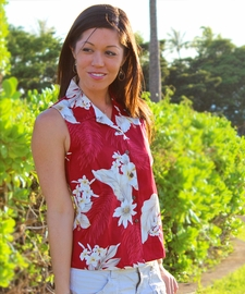 Floral Garden Red Sleeveless Women's Hawaiian Shirt