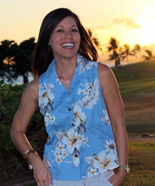 Floral Garden Sky Sleeveless Women's Hawaiian Shirt