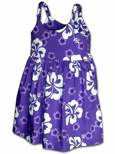 Girly Hibiscus Grape Bungee Dress
