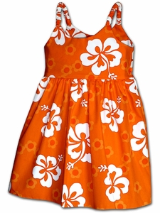 Girly Hibiscus Orange Bungee Dress