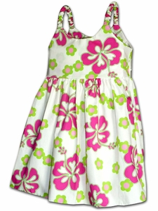 Girly Hibiscus White Bungee Dress
