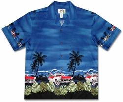 Grease Lightning Surfer Blue Hawaiian Shirt