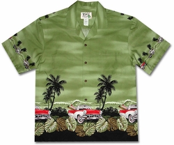 Grease Lightning Surfer Green Hawaiian Shirt