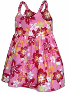 Happy Hibiscus Pink Girl's Bungee Dress