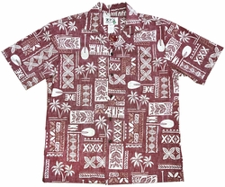 Hawaiian Glyphs Red Aloha Shirt