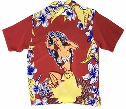 Hawaiian Maiden Red Retro Hawaiian Shirt