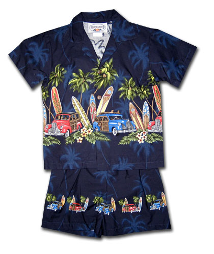 Hawaiian Woodies Navy Boy's Cabana Set
