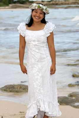 Holoku Style Hawaiian Muumuu Wedding Dress