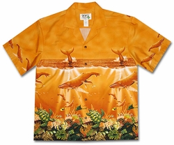 Humbpack Heaven Orange Hawaiian Shirt