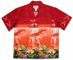 Humbpack Heaven Red Hawaiian Shirt