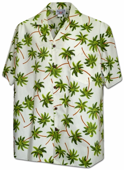 Hurricane Palms Ivory Hawaiian Shirt