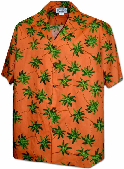 Hurricane Palms Orange Hawaiian Shirt