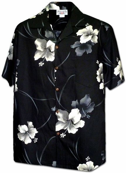 Inky Hibiscus Purple Black Hawaiian Shirt