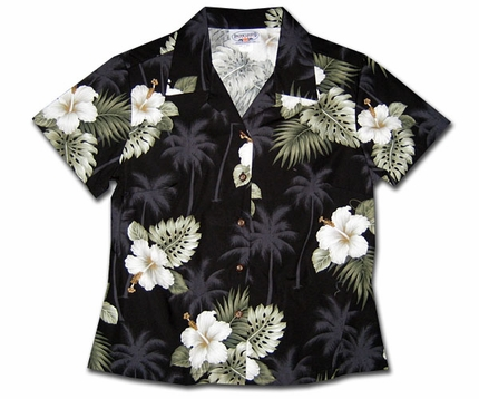 Kilauea Black Fitted Women's Hawaiian Shirt
