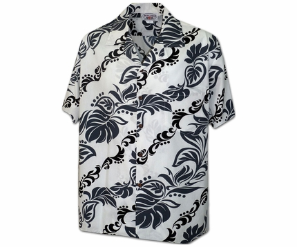 Island Lei White Hawaiian Shirt