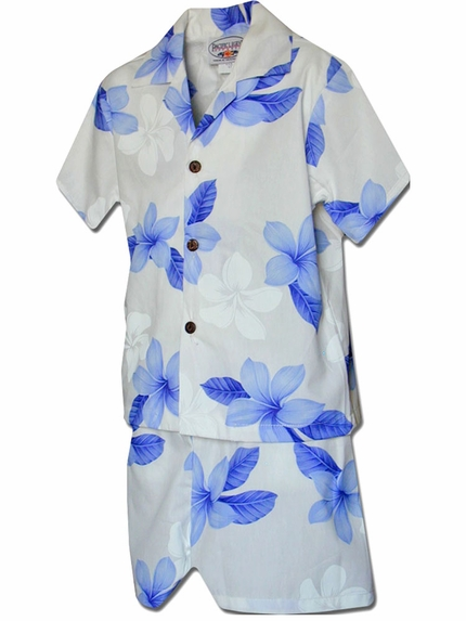 Island Little Prince Blue Boy's Hawaiian Shirt and Shorts