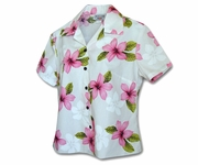 Island Pricess Blue Fitted Women's Hawaiian Shirt