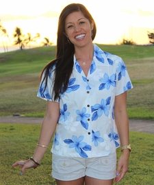 Island Princess Blue Fitted Women's Hawaiian Shirt