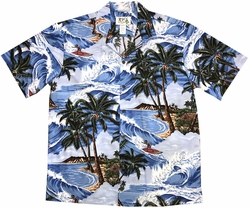 Island Surfer Blue Hawaiian Shirt