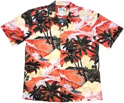 Island Surfer Orange Hawaiian Shirt