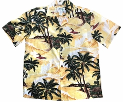 Island Surfer Yellow Hawaiian Shirt