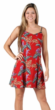 Jungle Bird Magnum PI Red Spaghetti Dress