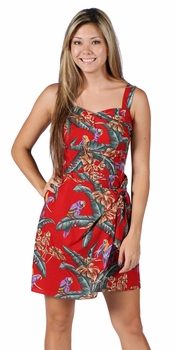 Jungle Bird (Magnum PI) Red Sarong Dress