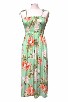 Kahala Hibiscus Green Mid-Length Tube Dress