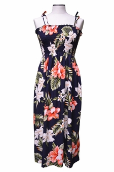 Kahala Hibiscus Navy Mid-Length Tube Dress