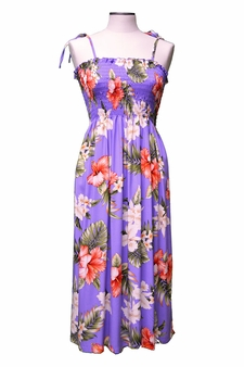Kahala Hibiscus Purple Mid-Length Tube Dress