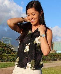 Kilauea Black Sleeveless Women's Hawaiian Shirt