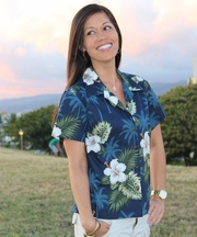 Kilauea Navy Fitted Women's Hawaiian Shirt