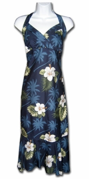 Kilauea Navy Hawaiian Halter Dress