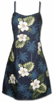 Kilauea Navy Short Spaghetti Dress