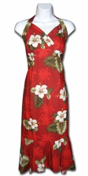 Kilauea Red Hawaiian Halter Dress